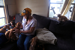 """Linda and William Hart Photo by not pictured), shown at their home on August 28, 2017, rode out Hurricane Harvey in their trailer near Bronte Street in Fulton, Texas, USA. They didn't evacuate because of their dogs. """"If I can't take my dogs you leave me right where I am,"""" Linda Hart said.<br /> Photo by Rachel Denny Clow/Corpus Christi Caller-Times/TNS/ABACAPRESS.COM"""