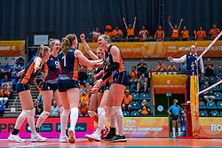 Kim Klein Lankhorst of Netherlands, Jolien Knollema of Netherlands, Elles Dambrink of Netherlands, n9/ in action during Netherlands - Argentina, FIVB U20 Women's World Championship on July 10, 2021 in Rotterdam