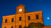 Illuminated clock and moonlit night, Ston, Dalmatian Coast, Croatia