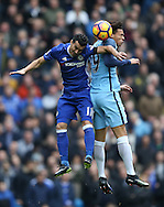 Pedro of Chelsea and Leroy Sane of Manchester City during the Premier League match at the Etihad Stadium, Manchester. Picture date: December 3rd, 2016. Pic Simon Bellis/Sportimage
