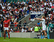 England's Tommy Taylor throws into a line out on his debut during the The Old Mutual Wealth Cup match England -V- Wales at Twickenham Stadium, London, Greater London, England on Sunday, May 29, 2016. (Steve Flynn/Image of Sport)