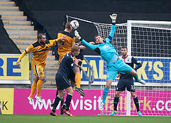 Falkirk's keeper Michael McGovern saves.<br /> Falkirk 1 v 2 Dumbarton, Scottish Championship game played today at the Falkirk Stadium.<br /> ©Michael Schofield.