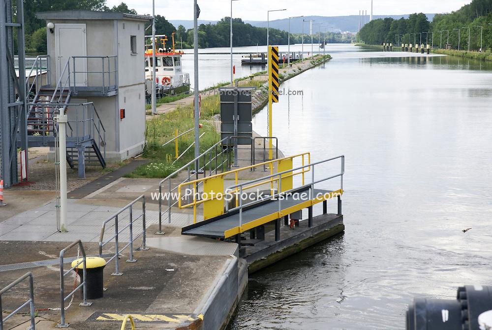Lock on the Rhine River Gates Opening near Miltenberg