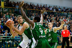 Smiljan Pavic of Krka vs Deon Thompson of Union Olimpija and Ben Woodside of Union Olimpija during basketball match between KK Krka and Union Olimpija Ljubljana of Round 7th of ABA League 2011/2012, on November 12, 2011 in Arena Leon Stukelj, Novo mesto, Slovenia. (Photo By Vid Ponikvar / Sportida.com)