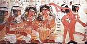 A feast for Nebamun. An entire wall of the tomb-chapel showed a feast in honour of Nebamun. Naked serving girls and servants wait on his friends and relatives. Married guests sit in pairs on fine chars, while the young women turn and talk to each other. This erotic scene of relaxation and wealth is something for Nebamun to enjoy for all eternity. The richly dressed guests are entertained by dancers and musicians, who sit on the ground playing and clapping