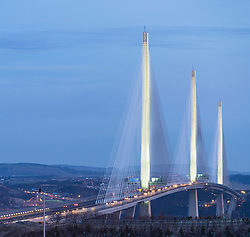 View at sunrise of Queensferry Crossing Bridge spanning the Firth Of Forth river at South Queensferry in Scotland, UK