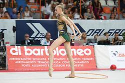 July 28, 2018 - Chieti, Abruzzo, Italy - Rhythmic gymnast Olena Diachenko of Ukraine performs her hoop routine during the Rhythmic Gymnastics pre World Championship Italy-Ukraine-Germany at Palatricalle on 29th of July 2018 in Chieti Italy. (Credit Image: © Franco Romano/NurPhoto via ZUMA Press)