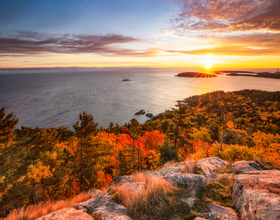 """Sunrise From Sugarloaf Mountain<br /> <br /> This looks fantastic on metallic paper!<br /> <br /> Available sizes:<br /> 11"""" x 14"""" print <br /> 11"""" x 14"""" canvas gallery wrap<br /> <br /> See Pricing page for more information. Please contact me for custom sizes and print options including canvas wraps, metal prints, assorted paper options, etc. <br /> <br /> I enjoy working with buyers to help them with all their home and commercial wall art needs."""