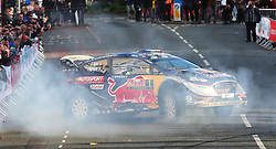 Sebastien Ogier celebrates winning the World Championship with a doughnut in the M-Sport WRT Ford Fiesta WRC during day four of the Dayinsure Wales Rally GB.