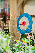 Details of the Blind Veterans UK: its all about Community Garden by Andrew Fisher Tomlin and Dan Bowyer - Preparations for the Hampton Court Flower Show, organised by teh Royal Horticultural Society (RHS). In the grounds of the Hampton Court Palace, London  02 July 2017