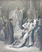 Machine Colourized (AI) Judgment of Solomon 1 Kings 3:25-27 From the book 'Bible Gallery' Illustrated by Gustave Dore with Memoir of Dore and Descriptive Letter-press by Talbot W. Chambers D.D. Published by Cassell & Company Limited in London and simultaneously by Mame in Tours, France in 1866