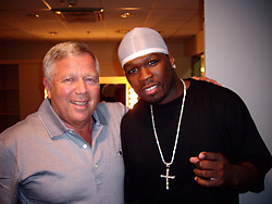 """50 Cent releases a photo on Instagram with the following caption: """"Me and Robert Kraft 10 years ago in Budapest let\u2019s go Pats #lecheminduroi #bellator"""". Photo Credit: Instagram *** No USA Distribution *** For Editorial Use Only *** Not to be Published in Books or Photo Books ***  Please note: Fees charged by the agency are for the agency's services only, and do not, nor are they intended to, convey to the user any ownership of Copyright or License in the material. The agency does not claim any ownership including but not limited to Copyright or License in the attached material. By publishing this material you expressly agree to indemnify and to hold the agency and its directors, shareholders and employees harmless from any loss, claims, damages, demands, expenses (including legal fees), or any causes of action or allegation against the agency arising out of or connected in any way with publication of the material."""