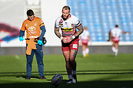 Zak Hardaker (1) of Wigan Warriors lines up the conversion goal during the Betfred Super League match between Huddersfield Giants and Wigan Warriors at the John Smiths Stadium, Huddersfield, England on 1 March 2020.