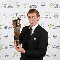 8 November 2013; Clare hurler David McInerney with his 2013 GAA GPA All-Star award, sponsored by Opel, at the 2013 GAA GPA All-Star awards in Croke Park, Dublin. Picture credit: Paul Mohan / SPORTSFILE *** NO REPRODUCTION FEE ***