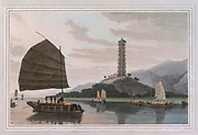 THE stately pagoda of Whampoa rises to an elevation of nearly 120 feet ; and, like other edifices of the kind, is constructed of brick. From its summit there is a fine view of the adjacent mountains, and the extensive and varied navigation of the Canton river; from the declivity of the hill on which the pagoda stands to the edge of the water is a flourishing rice plantation: colour print from the book ' A Picturesque Voyage to India by Way of China  ' by Thomas Daniell, R.A. and William Daniell, A.R.A. London : Printed for Longman, Hurst, Rees, and Orme, and William Daniell by Thomas Davison, 1810. The Daniells' original watercolors for the scenes depicted herein are now at the Yale Center for British Art, Department of Rare Books and Manuscripts,