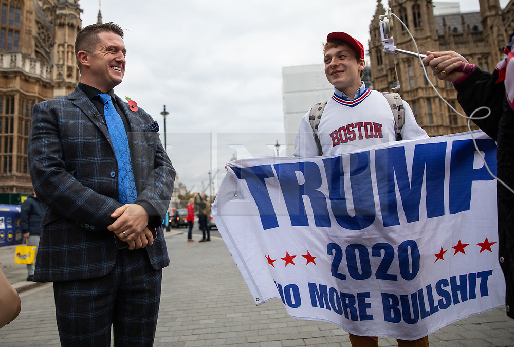 © Licensed to London News Pictures. 06/11/2018. London, UK. NOTE: FILE PHOTO. Max Hammet-Millay (right) pictured with Tommy Robinson (left) in November. Hammet-Millay has been accused of being part of the group calling Conservative MP Anna Soubry a 'Nazi' on Monday this week. [ORIGINAL CAPTION: Stephen Yaxley-Lennon, also known as Tommy Robinson, seen in Westminster talking to pro-Trump supporters and anti-Brexit demonstrators.] Photo credit : Tom Nicholson/LNP