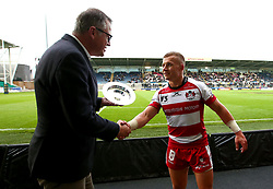 Ben Vellacott of Gloucester Rugby is presented with the Premiership Rugby 7s Plate Trophy after beating Saracens in the Final - Mandatory by-line: Robbie Stephenson/JMP - 29/07/2017 - RUGBY - Franklin's Gardens - Northampton, England - Saracens v Gloucester Rugby - Singha Premiership Rugby 7s