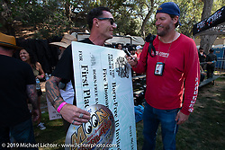 Hawk Lawshe received $5,000 and a trip to the Mooneyes Show in Japan for his first place win at the Born Free chopper show. Silverado, CA. USA. Saturday June 23, 2018. Photography ©2018 Michael Lichter.