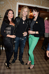 Left to right, CHLOE FRANCIS, DAVID BRYAN and JASMINE GUINNESS at the Blue Monday Cheese Launch presented by Alex James and held at The Cadogan Hotel, Sloane street, London on 11th June 2013.