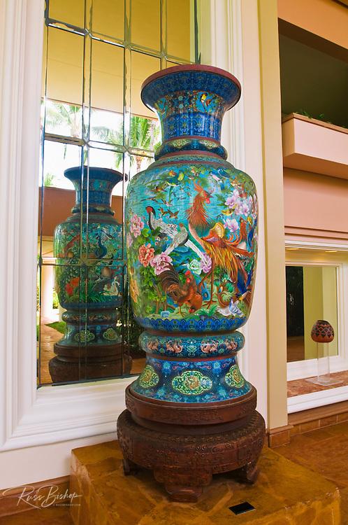 Painted ceramic vase at the Kauai Marriott Resort, Island of Kauai, Hawaii
