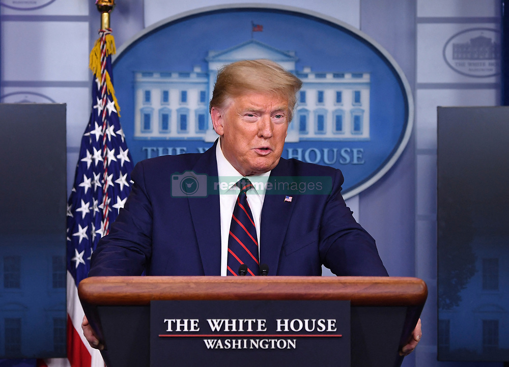 President Donald Trump speaks at a Coronavirus briefing at the White House on Thursday, April 2, 2020 in Washington, DC. Due to the COVID-19 pandemic, at least 5,700 people have died in the United States with more than 200,000 infected. More than 10 million people have lost their jobs in the U.S. in the past two weeks. Photo Kevin Dietsch/Pool/ABACAPRESS.COM