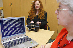 Palantypist - speech interpreted to text for person with hearing impairment.