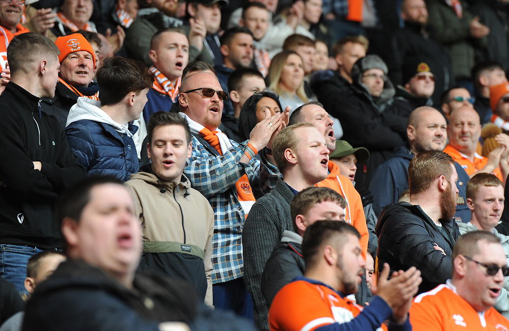 Blackpool fans watch their team in action <br /> <br /> Photographer Kevin Barnes/CameraSport<br /> <br /> The EFL Sky Bet League One - Blackpool v Peterborough United - Saturday 13th April 2019 - Bloomfield Road - Blackpool<br /> <br /> World Copyright © 2019 CameraSport. All rights reserved. 43 Linden Ave. Countesthorpe. Leicester. England. LE8 5PG - Tel: +44 (0) 116 277 4147 - admin@camerasport.com - www.camerasport.com