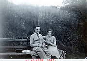 young adult couple on a park bench 1937 England
