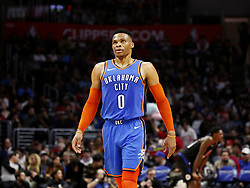March 8, 2019 - Los Angeles, California, U.S - Oklahoma City Thunder's Russell Westbrook (0) in an NBA basketball game between Los Angeles Clippers and Oklahoma City Thunder Friday, March 8, 2019, in Los Angeles. (Credit Image: © Ringo Chiu/ZUMA Wire)
