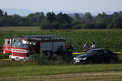 07.06.2015, Vrbovec, Zagreb, CRO, Absturz eines Sportflugzeuges während einer Flugshow bei der 2 Menschen starben, im Bild Sport plan felt during air show and two people died. The accident occurred // during a demonstration flight which was held as part of the Open Days Dubrava Aero Club and the plane crashed near the runway at Vrbovec in Zagreb, Croatia on 2015/06/07. EXPA Pictures © 2015, PhotoCredit: EXPA/ Pixsell/ Borna Filic<br /> <br /> *****ATTENTION - for AUT, SLO, SUI, SWE, ITA, FRA only*****
