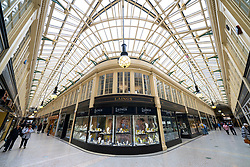 Interior of historic Argyll Arcade with many jewellery shops in Glasgow city Centre, Scotland, UK