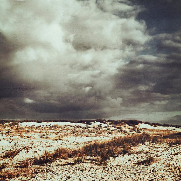 Dark cloudy sky above dunes near the Atlantic Ocean in south-west France