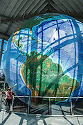 See Eartha, World's Largest Globe (41.1 ft in diameter), at DeLorme Headquarters Map Store, in Yarmouth, Maine, USA. DeLorme makes my favorite state atlases. Take Interstate 295 Exit 17 (10 min north of Portland).