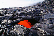 Skylight, Lava tube, Pu'u O'o Vent, Eruption, Kilauea Volcano, Island of Hawaii