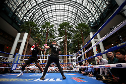 Joshua Buatsi (left) during the public work-out at the Brookfield Place, New York.