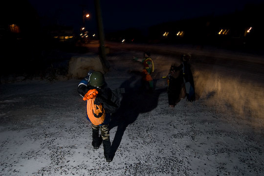 The Jarrett O'connor family out for Halloween night in Churchill, Manitoba.