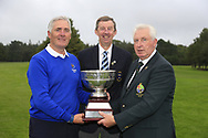 GUI President John Moloughney presents the trophy to Michael Coote munster team with Jim Long Chair Munster Golf at the finals of the Interprovincial Championship 2018, Athenry golf club, Galway, Ireland. 31/08/2018.<br /> Picture Fran Caffrey / Golffile.ie<br /> <br /> All photo usage must carry mandatory copyright credit (© Golffile | Fran Caffrey)