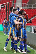 12 Fejeri Okenabirhie celebrates the equaliser for Shrewsbury Town during the The FA Cup 3rd round replay match between Stoke City and Shrewsbury Town at the Bet365 Stadium, Stoke-on-Trent, England on 15 January 2019.