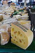 France, Paris, an outdoor, street food market Cheese store