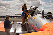 Crew helping guests at Warbirds Over the West.