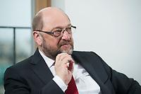 22 FEB 2016, BERLIN/GERMANY:<br /> Martin Schulz, SPD, Praesident des Europaeischen Parlamentes, waehrend einem Interview, Spiegel Hauptstadtbuero<br /> IMAGE: 20160222-01-032