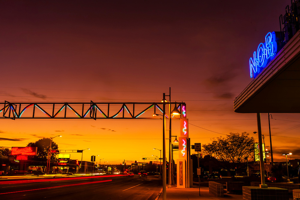 Sunset, Central Avenue (Historic Route 66) in the Nob Hill section of Albuquerque, New Mexico USA.