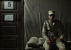 October 31, 2016 - Iraqi army soldier is at his base close to Qayarah. He is waiting the next day operations (Credit Image: © Berci Feher via ZUMA Wire)