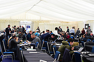 Media Centre ahead of the European Rugby Challenge Cup match between Gloucester Rugby and Stade Francais at BT Murrayfield, Edinburgh, Scotland on 12 May 2017. Photo by Kevin Murray.