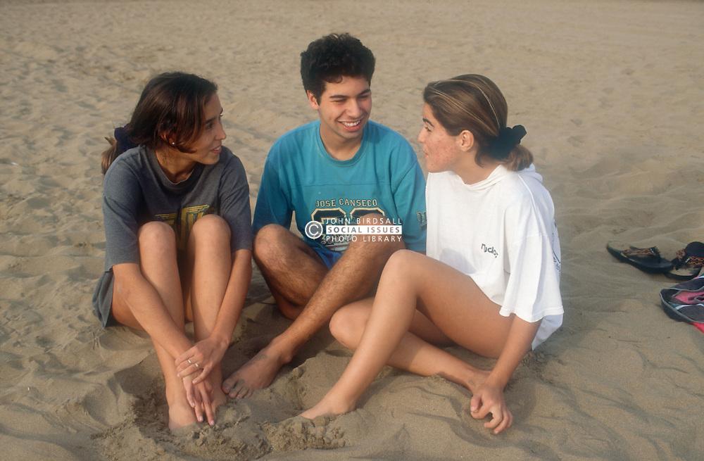 Group of teenagers sitting on sandy beach talking,