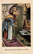 This little pig Stayed at Home From the book ' A apple pie and other nursery tales : forty-eight pages of illustrations : printed in colours by Kronheim & Co ' Published by  : George Routledge and Sons 1870
