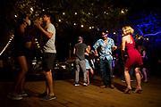 Cristopher Juarez and Kathleen Baireuther dance at Veracruz's regular Noche de Cumbia.