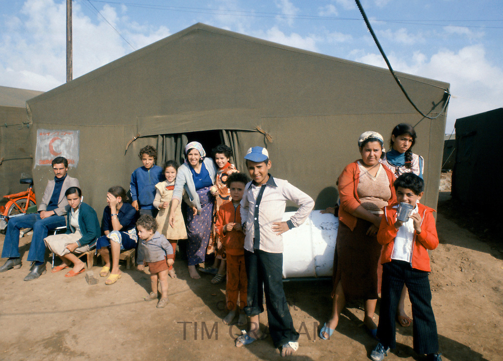 Temporary camp for victims of earthquake disaster in Algiers, Algeria, October 1980