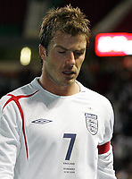 Photo: Paul Thomas.<br /> England v Hungary. International Friendly. 30/05/2006.<br /> <br /> David Beckham of England leaves the field after the match.