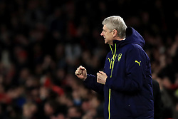 Arsenal manager Arsene Wenger celebrates after Arsenal's Theo Walcott (not pictured) scores his side's first goal of the game